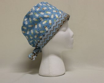 Blue Baby Bottles with Chevron Surgical Scrub Cap Chemo Hat