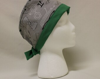 Science Geek Gray and Green Surgical Scrub Cap Chemo Dental Hat