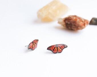 Small butterfly studs , Orange butterfly studs , Butterfly earrings , Butterfly lover gift , Gift for her , Butterfly jewelry