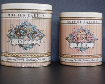 Vintage Ballonoff Mother Earth's Brand Metal Canisters