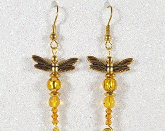 Yellow and Gold Dragonfly Earrings / Handmade / Wire wrapped jewelry