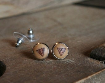 1 pair wood studs with triangular mahogany wood intasien 10 mm with nut
