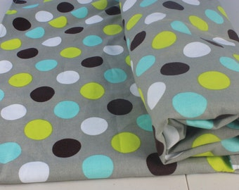 Baby Blanket -Gender Neutral- Dots in Grey, Aqua, Brown,and Lime with Grey Minky