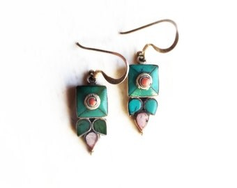 Vintage Sterling Silver & Turquoise Flower Boho Dangle Earrings ~ Blue Gem Jewelry