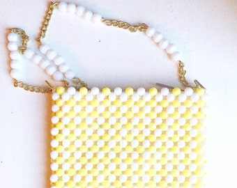 Vintage Retro White and Yellow Handmade Beaded Purse