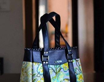 Tula pink chipper, Black FAUX leather  handbag, Fabric handbags, Handmade handbags, Spring gift women, College dorm girl, Vegan purse