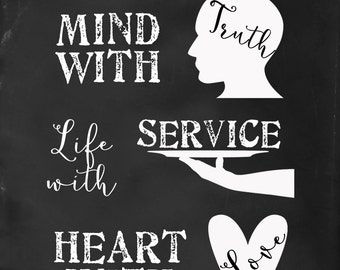 LDS Fill Your Mind with Truth, Life with Service, Heart with Love Monson quote 8x10 digital download - President Thomas S. Monson quote -