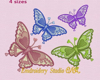 "Machine embroidery design ""Butterfly Heart"" - butterfly embroidery - butterfly - butterfly stylized - embroidery butterfly"