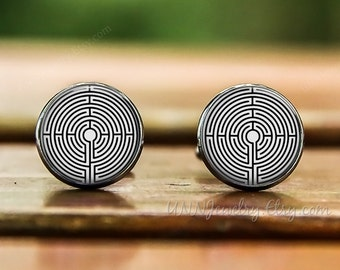 Mens Maze Cufflinks Funny Geekery Cuff links Novelty Gamer Groomsman Geek Father Day Anniversary Wedding Gift
