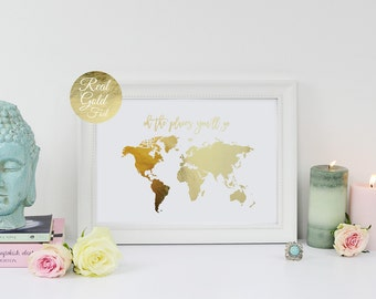 Gold map etsy oh the places youll go world map poster real gold foil gumiabroncs Image collections
