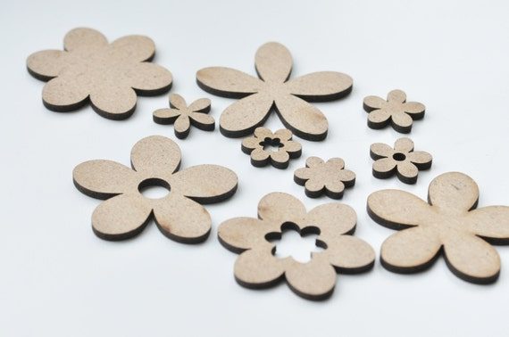 Set of cut outs flowers cutout flower shape mdf craft supplies for Craft supplies wooden shapes