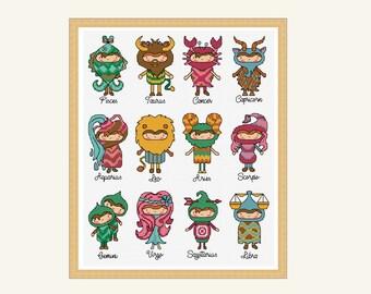 horoscope people cross stitch pattern