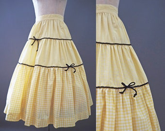 SALE - 30% OFF! 1950's Yellow and White Gingham with Bows Tiered Pinup Picnic Circle Skirt