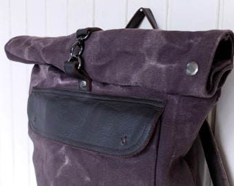 RUCKSACK in Waxed Canvas - Brown stonewashed