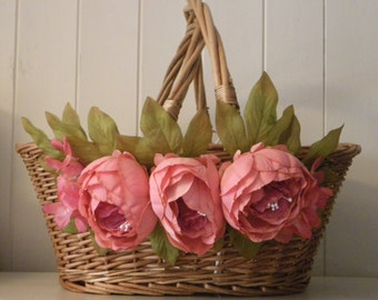 Wicker Shopping Basket with Flowers