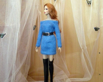 Handmade blue knitted dress + leather belt + leather boots for 1/6 scale doll (Barbie, FR2, etc)