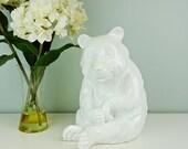 Large Ceramic White Bear Italian Pottery, White Polar Bear Figurine Statue, Monochromatic White Decor, Minimalist Decor, Shelf Decoration