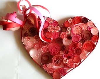 "Paper Heart Quilling on Canvas 12"" x 12"""