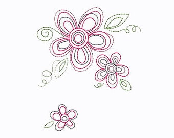 Bean Flower Embroidery Design - Instant Digital Download