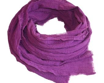 Raspberry Hand-dyed Cotton Scarf / Women's Scarf / Cotton Scarf / Pink Scarf / Pink Cotton Scarf / Spring Scarf / Cotton Gauze Scarf