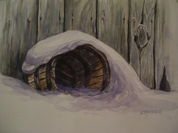Barrel in the Snow,16x20 Original Watercolor Painting,One of a Kind,Not a Print,Free Shipping Code SKYE2