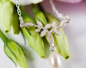 Pearl Leaf Necklace  Silver Vintage Inspired Bridal Necklace  First Dance Necklace