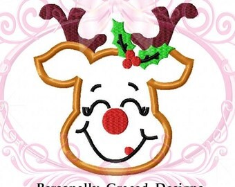 Christmas Deer with Antlers Machine Applique Embroidery Design 4x4, 5x7, 6x10 Christmas Applique, Holiday Embroidery, Instant Download