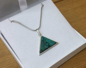 Pendant 925 Silver Malachite vintage triangle SK948