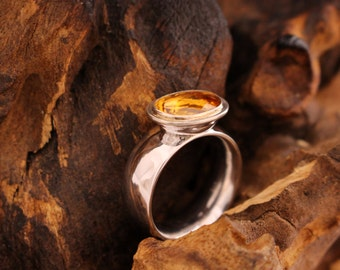 citrine ring, oval cut ring, silver ring with citrine,