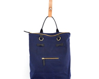 2-in-1 Navy Convertible Backpack Laptop Bag Waxed Cotton and Leather Backpack Tote Bag Laptop Backpack Mabel Pack