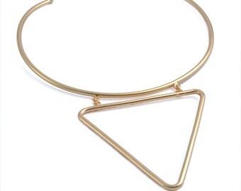 Geometric Collar Necklace Minimalist Solid Brass Statement Geometric Simple Triangle Jewelry Gift BN386-G