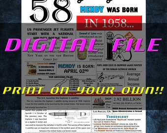 1958 Personalized Birthday Poster, 1958 History - DIGITAL FILE!!