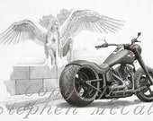 "Giclee fine art print of original pencil drawing ""Temptation"" by Stephen McCall, Harley Davidson motorcycle drawings, motorcycles, angels"