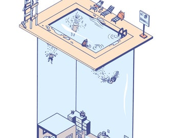 Office Pool-4 color Risograph Print