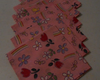 Spring Flowers Handmade (6) Cotton Napkins