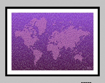 World Map Kotak - map of the world wall art print by elevencorners - wall decor - map picture -travel print poster - color options available
