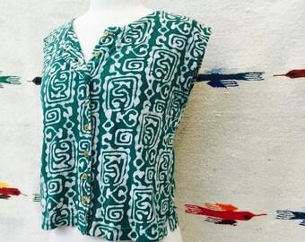 BOOM soft cotton batik blouse - vintage boom print tank top - ethnic print blouse - Women's S