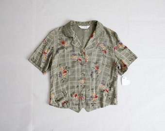 90s floral blouse / crop top / cropped blouse