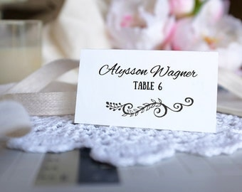 Placecard Template - DIY  Printable Wedding Placecards   - Rustic - EDIT COLORS - Instant Download