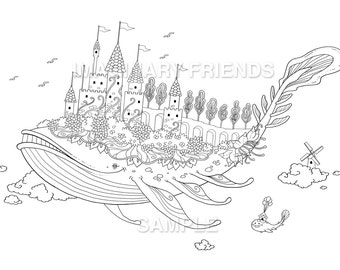 Whale castle • Coloring Page • A4 size 210 × 297mm / A3  size 420 x 297mm