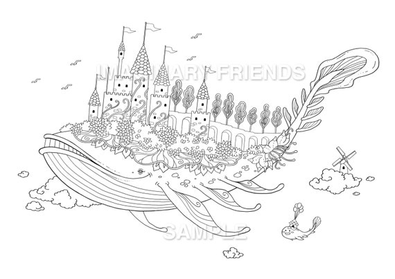 Whale castle Coloring Page A4 size 210 297mm A3 size
