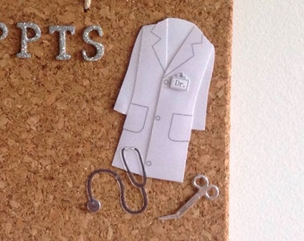Doctor memo cork board: appointments, notes, reminders with doctor's jacket, stethoscope, suture scissors, doctor bag, prescription pad