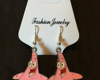 Silver Plated Spongebob Squarepants Patrick Earrings