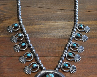 Vintage Navajo Sterling Silver And Turquoise Sandcast Squash Blossom Necklace