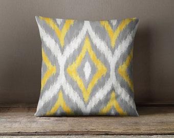 Ikat Ogee Pillow -  Yellow Gray White Pattern