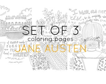 Literary Coloring Pages - Jane Austen - adult coloring - set of three