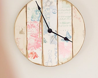 Reclaimed Pallet Wood Clock Recycled Pallet Wood Decoupage Clock Personalised  Rustic Clock home made Mother's Day present Valentine present
