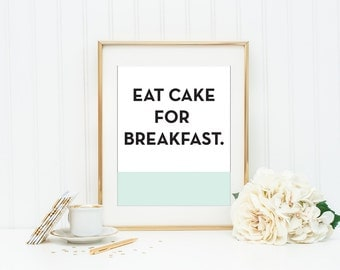 Kate Spade Eat Cake For Breakfast Mint And Coral Wall Art Kitchen Wall Art  Girls Room