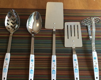 Shipping Included - Set of 5 Vintage Retro Household Japan Deluxe Kitchen Cooking Serving Untensils - Shipping Included