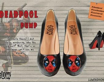 DEADPOOL PUMP - deadpool shoes, marvel comics, comics shoes, handpainted shoes, wade wilson, weapon x, deadpool high heels